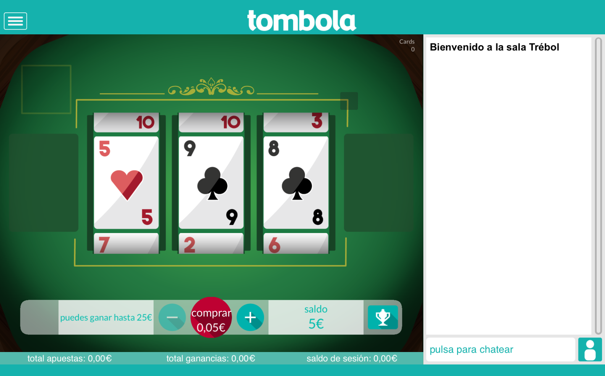 cards slots tombola